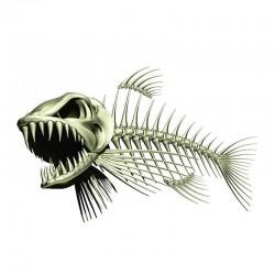 Scheletro di pesce 3D - adesivo per auto e moto 13 * 85 cm