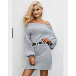 Off-shoulder knitted dress - loose sweater