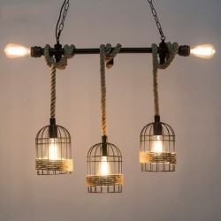 Klatki z 5 lampkami - żelazna lampa wisząca z ręcznie dzianą liną