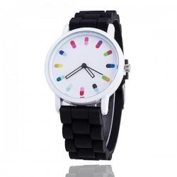 Modny kwarcowy zegarek z silikonowym paskiem