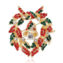 Świąteczna kolorowa broszka z kryształkami