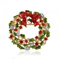 Świąteczny wieniec z jemioły - broszka