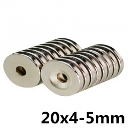 Aimant cylindrique en néodyme N35 - super fort - trou fraisé - 20 * 4 * 5mm 10 pièces