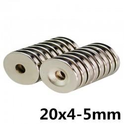 Magnes neodymowy N35 - super mocny - otwór z łbem stożkowym - 20 * 4 * 5 mm 10 sztuk
