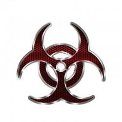 Biohazard czerwony hex - winylowa naklejka na samochód 12 * 12cm
