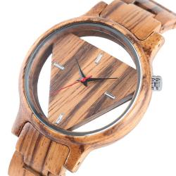 Geometryczny trójkąt - drewniany zegarek kwarcowy - unisex
