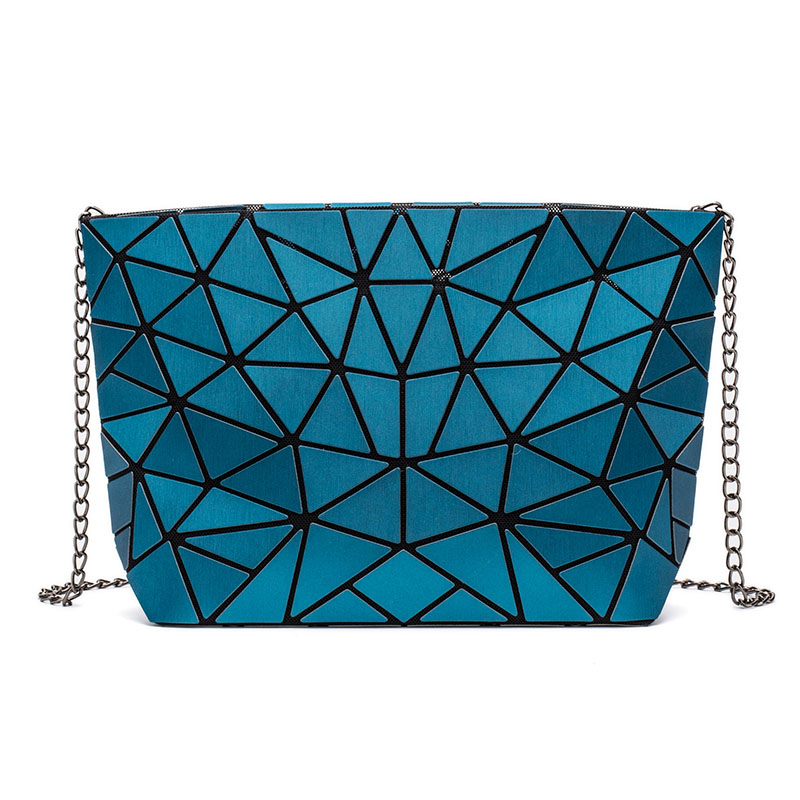 Luminous geometric bag with chain strap