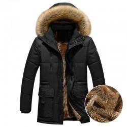 Gruba ciepła kurtka zimowa z kapturem
