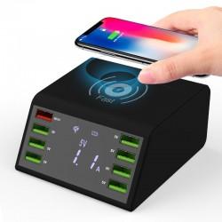 Wyświetlacz LED USB 60W - bezprzewodowa ładowarka z wieloma portami - szybkie ładowanie 3.0