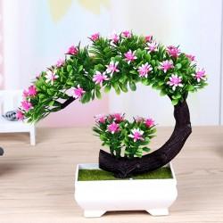 Japońskie różowe i fioletowe kwiaty - sztuczna doniczka bonsai
