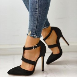 Elegant high heel pumps with buckle