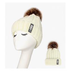 Ciepła zimowa wełniana czapka z pomponem