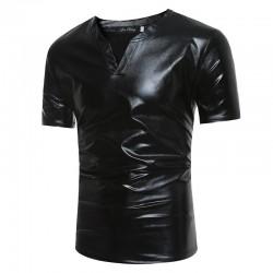 Shiny metallic t-shirt - short sleeve