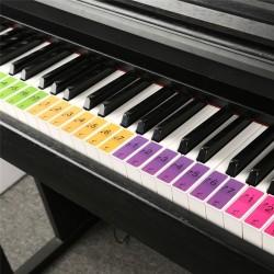 Naklejki z nazwami dźwięków klawiatury fortepianu - etykiety muzyczne