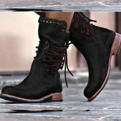 Zimowe buty z tylnym sznurowaniem i zamkiem błyskawicznym