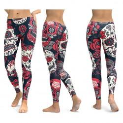 Yoga & fitness push up leggings with skull print