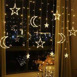 Księżyc i gwiazdy - sznurek Led - dekoracja świąteczna - 110V - 220V