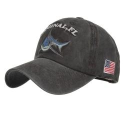 Vintage oryginalny rekin - haftowana bawełniana czapka z daszkiem - unisex