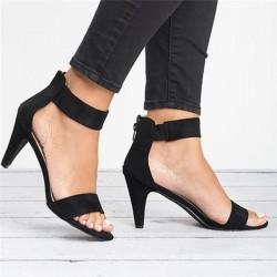 Czółenka na wysokim obcasie - eleganckie zamszowe sandały z tylnym zamkiem