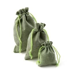 Lniane torby na prezenty świąteczne ze sznurkiem 10 sztuk