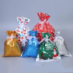 Torby na prezenty świąteczne ze sznurkami 32 * 24 cm 50 sztuk