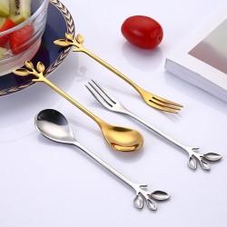 Uchwyt w kształcie liścia - łyżeczka & widelec do herbaty & kawy & deserów