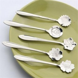 Ozdobna srebrna łyżeczka do herbaty & kawy & deserów 5 sztuk