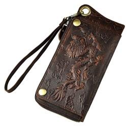 Design smoka - wielofunkcyjny skórzany portfel z paskiem & zamkiem