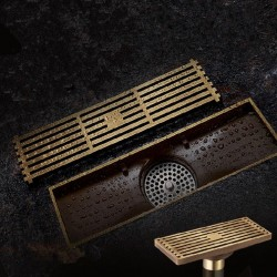Antyczny mosiądz - łazienkowy odpływ podłogowy - druciane sitko