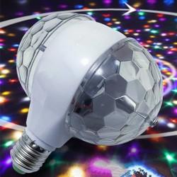 Lampadina LED E27 RGB da 6W - lampadina rotante con doppia testa - palco e lampada da discoteca