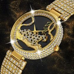 Luksusowy modny złoty zegarek z lampartem i brylantami