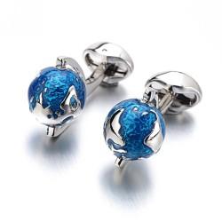 Modne spinki do mankietów z niebieskim obrotowym globem