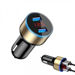 Cargador universal para automóvil de 5V 3.1A para teléfono inteligente con doble USB y LED