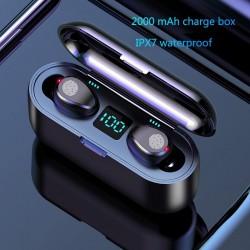 Bezprzewodowe słuchawki Bluetooth V5.0 F9 TWS - wyświetlacz LED - power bank 2000mAh - zestaw słuchawkowy z mikrofonem