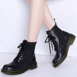 Prawdziwa skóra z ciepłym pluszem - buty damskie - gumowa podeszwa - jesień - zima