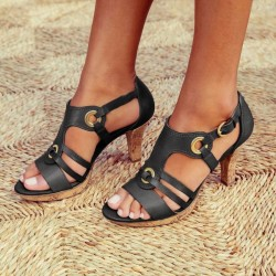 Fashionable leather gladiator sandals - high heel