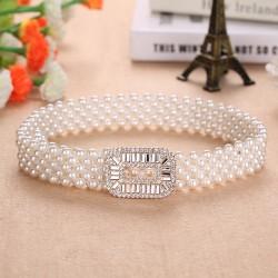 Elegancki elastyczny pasek z perłami & kryształami