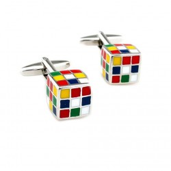 Cufflinks with colorful cubes