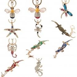Kryształowy krokodyl & rozgwiazda & pszczoła - brelok do kluczy