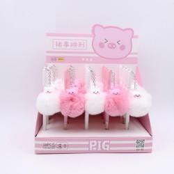 Długopis żelowy z pluszowym flamingiem & świnką & owieczkami