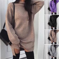 Jesienno - zimowy luźny sweter - mini sukienka