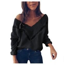 Luźny sweter - elegancka bluzka z koronką