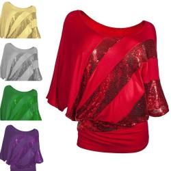 Błyszcząca cekinowa koszula - bluzka z krótkim rękawem