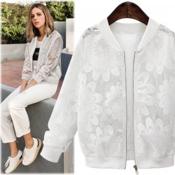 Elegant lace short jacket with transparent lace sleeves