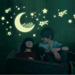 Gwiazdy & księżyc & galaktyka - świecące naklejki fluorescencyjne
