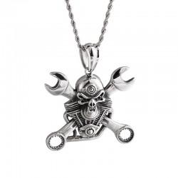 Klucz & czaszka ze stali nierdzewnej - naszyjnik w stylu punk