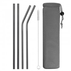 Reusable - stainless steel drinking straws - set with bag