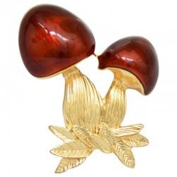 Red enamel mushroom - brooch