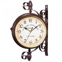 Horloge à mur station ancienne double face