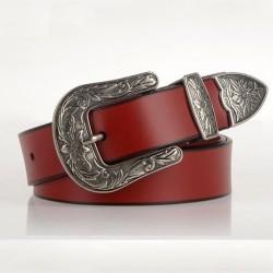 Luksusowy skórzany pasek z metalową klamrą